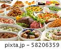 食品 魚 牛肉 豚肉 料理集合 料理 ブッフェ 和洋食 和洋料理 ディナー デザート ローストビーフ 58206359