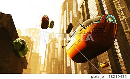 Autonomous Future Electric Vehicles in City Sunset 3D Illustration 58210436