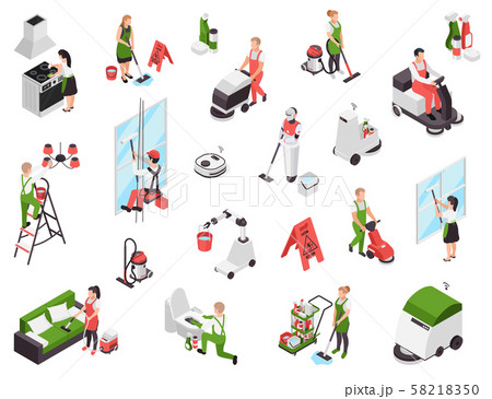 Cleaning Service Workers Set 58218350