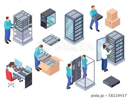 Server room isometric. Information technology server engineer, telecommunication cloud servers 58219437