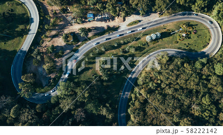 Winding road in the forest top view 58222142