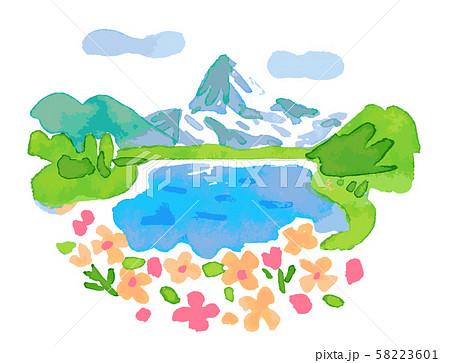 スイスの湖と花 58223601