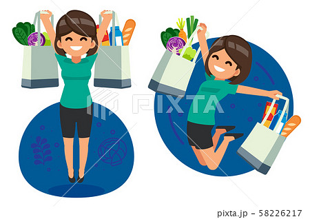 Happy woman jump shopping daily food for supermarket by textile bag. 58226217