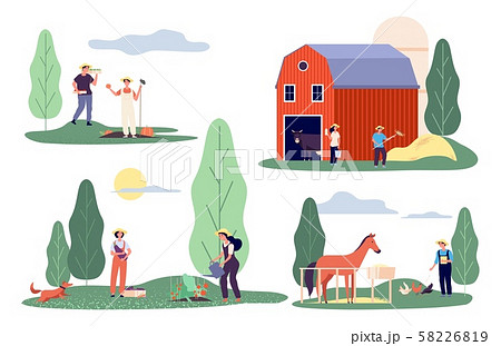 Flat farmers. Harvest time, farm flat vector concepts. Agricultural workers, rural life 58226819