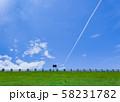 青空に飛行機雲 58231782