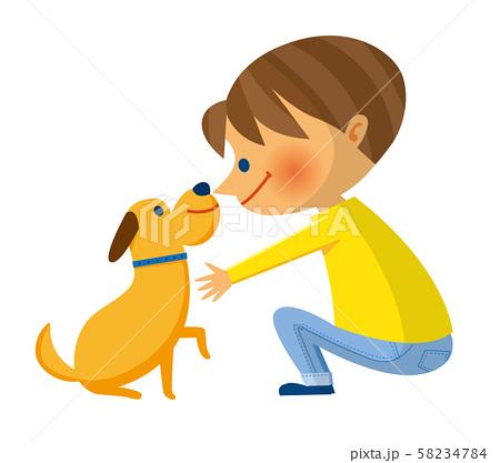 仔犬と少年 58234784