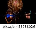 富山県 海王丸パーク 富山新港花火大会 船のイルミネーションと花火 ナイアガラ 比較明合成 58238026