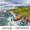 Aerial view of the Wild Atlantic Coastline by Maghery, Dungloe - County Donegal - Ireland. 58240691