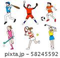野球・テニス・サッカー・ゴルフ・ホッケーオリンピック野外球技イラストセット 58245592
