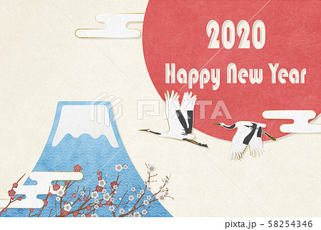 2020年-年賀状素材(はがき比率)-富士山-日の丸-Happy New Year 58254346