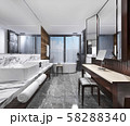 3d rendering modern loft bathroom with luxury tile decor with make up table 58288340