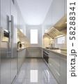 3d rendering scandinavian vintage modern kitchen with dining area 58288341