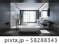 3d rendering modern black stone bathroom with luxury tile decor with nice nature view from window 58288343