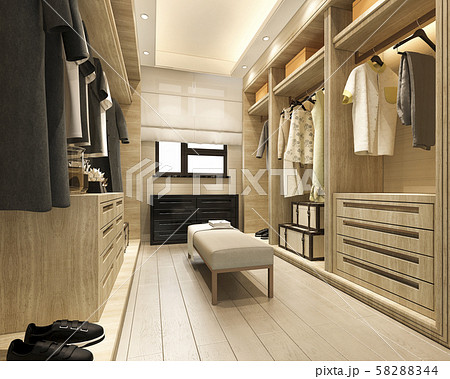 3d rendering minimal scandinavian wood walk in closet with wardrobe 58288344