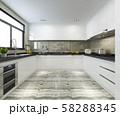 3d rendering scandinavian vintage modern kitchen with dining area 58288345