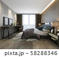 3d rendering beautiful luxury bedroom suite in hotel with tv and working table 58288346