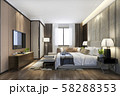 3d rendering beautiful luxury bedroom suite in hotel with tv and working table 58288353