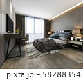 3d rendering beautiful luxury bedroom suite in hotel with tv and working table 58288354
