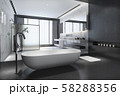 3d rendering modern black stone bathroom with luxury tile decor with nice nature view from window 58288356