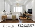 3d rendering orange vintage minimal bedroom suite in hotel with tv 58288357