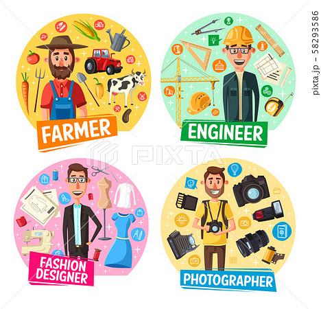 Farmer, photographer, engineer, tailor professions 58293586