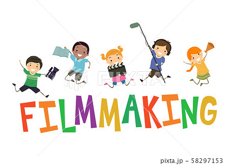 Stickman Kids Film Making Illustration 58297153