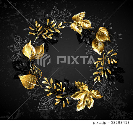 Wreath of golden leaves and branches 58298413