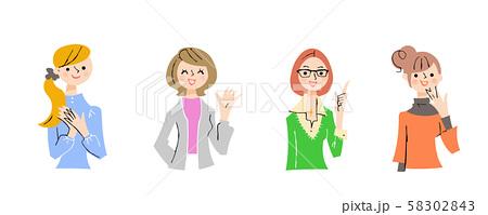 若い女性4人上半身 セット 58302843