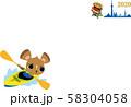 年賀状2020 ネズミ オリンピック カヌー 58304058