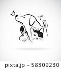 Vector group of pets - Dog, Cat, Humming bird, 58309230