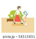 部屋の掃除をする女性 58315831