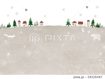 冬の草原と街と動物 58326487