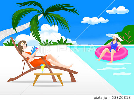 Summer vacation and traveling concept, People enjoying holiday illustration 002 58326818