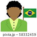 女性ビジネスマン (OL) +国旗 イラスト (上半身・顔なしシルエット)/ ブラジル 58332459
