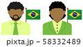 男性・女性ビジネスマン+国旗 イラスト (上半身・顔なしシルエット)/ ブラジル 58332489