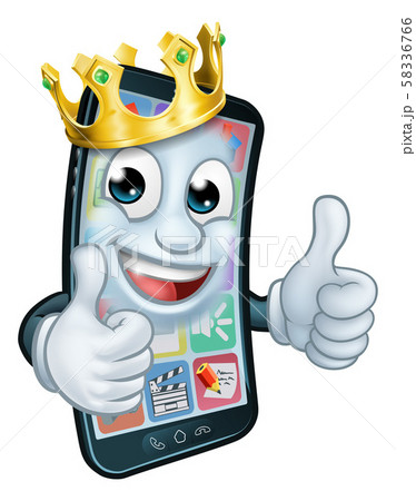 Mobile Phone King Crown Thumbs Up Cartoon Mascot 58336766