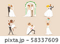 Elegant Romantic Just Married Couples in Love Set, Newlywed Bride and Groom at Marriage Ceremony 58337609