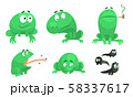 Collection of Funny Green Frog with Various Emotions, Amphibian Animal Character in Different 58337617