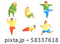 Fat Men Exercising in the Gym Set, Chubby Male Characters Doing Workout Vector Illustration 58337618