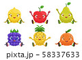 Collection of Cute Fruit and Berries Cartoon Characters with Funny Faces, Lemon, Apple, Pear 58337633