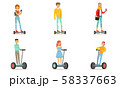 People Riding Self Balancing Scooters or Hoverboard, Young Men and Women Using Modern Individual 58337663