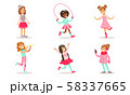 Beautiful Girls Doing Different Activities Set, Cute Adorable Girls in Pink Fashionable Clothes 58337665