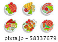 Healthy Dishes Set, Top view of Grilled Sausages and Vegetables on Plates Vector Illustration 58337679