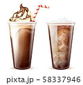 Frappe coffee, cola with ice cubes in plastic cups 58337946
