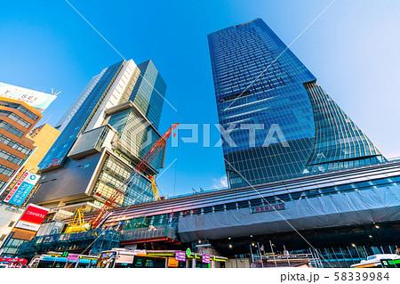 日本の東京都市景観 渋谷駅再開発・東京メトロ銀座線渋谷駅移設工事などを望む 58339984