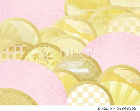 背景-和-和風-和柄-和紙-金箔-ピンク 58343569