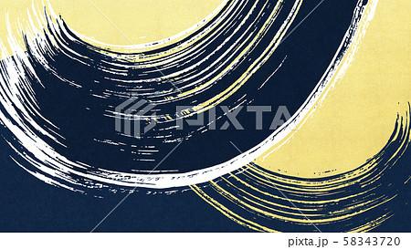 背景-和-和風-和柄-和紙-金箔-波-筆-青 58343720