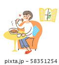 パスタを食べる女性 58351254