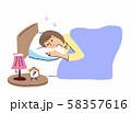 ベッドで眠る女性 58357616