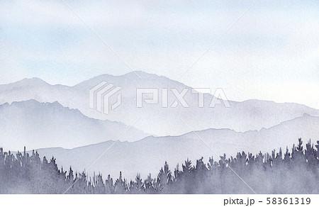 山の風景 水彩画 58361319